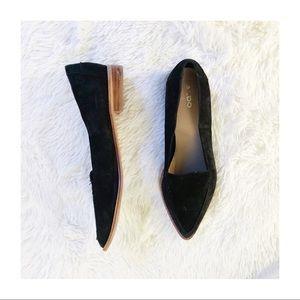 Aldo Black Suede Leather Loafer Pointy Toe sz9